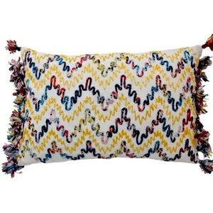 Throw Pillow Multicolored Fringe Embroidered NWT